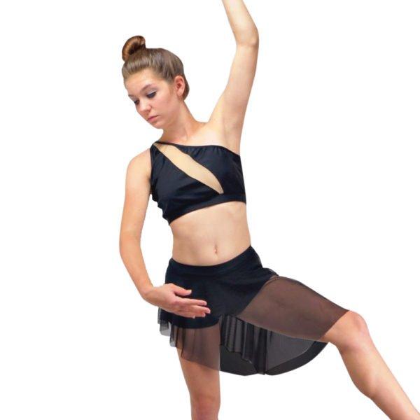 two piece asymmetrical modern dance costume