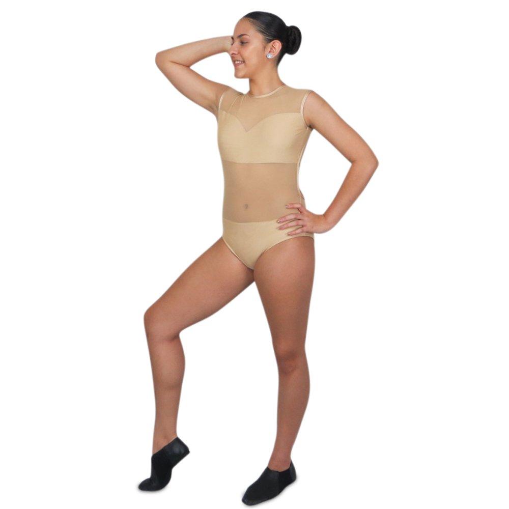 open back mesh leotard in nude