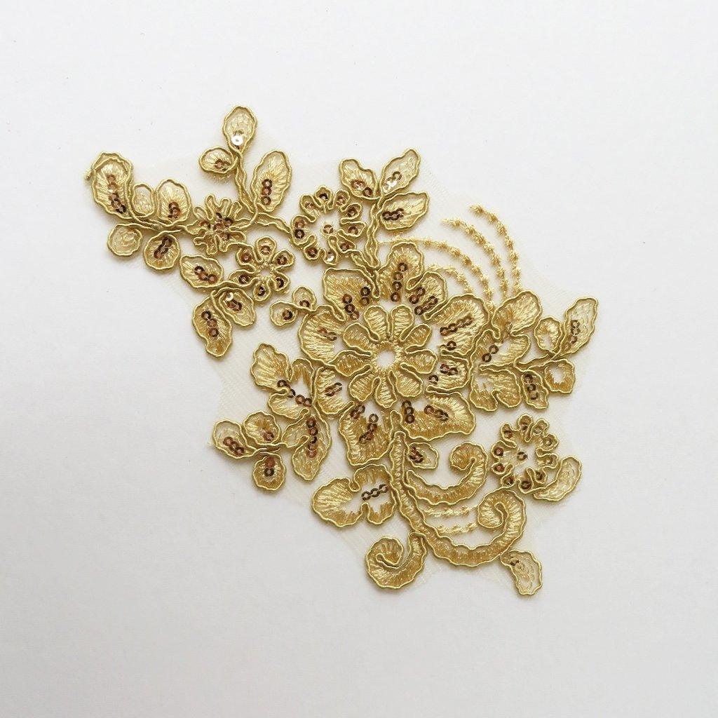embroidered sequin floral applique gold