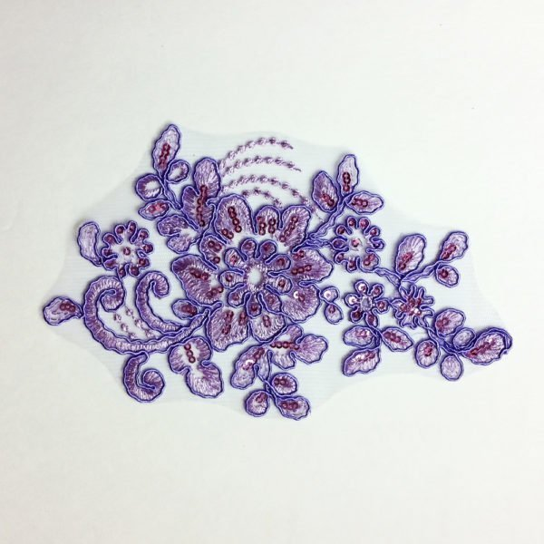 lavender sequin applique makes a beautiful custom dance costume