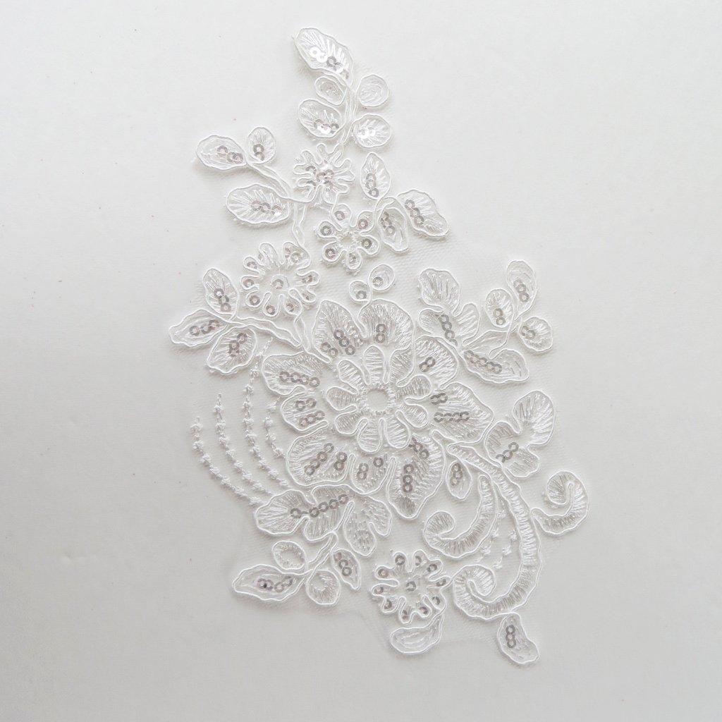sequin floral applique white