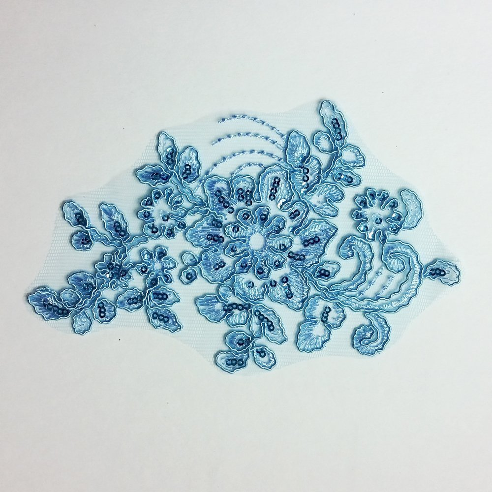 Baby Blue Embroidered Sequin Applique