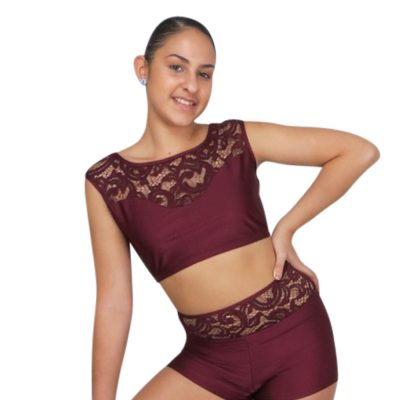 get this Cap Sleeve Lace Dance Crop Top in 6 popular colors