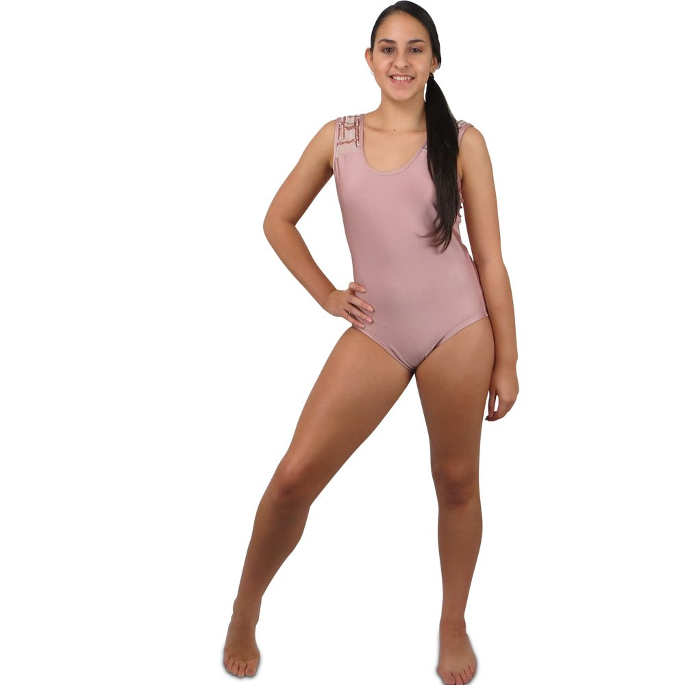 sequin inset dusty rose leotard front