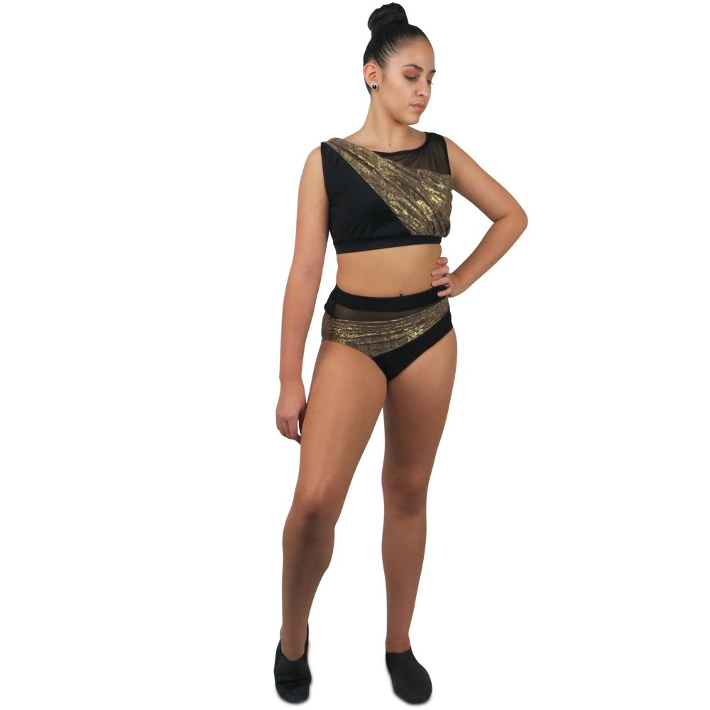 two piece metallic lace jazz costume front1