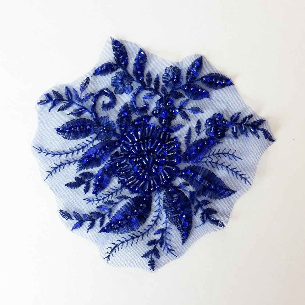 Royal Blue Beaded Sequin Applique – Large