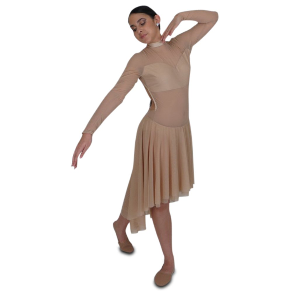 nude-mesh-long-sleeve-leotard-dress1