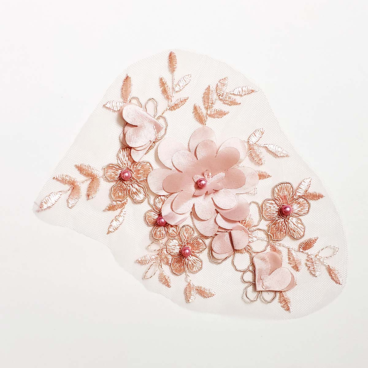 3D Flower Blush Pink Applique with Pearls1