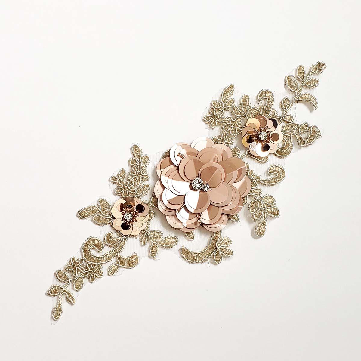 3D Metallic Applique Rose Gold and Blush1