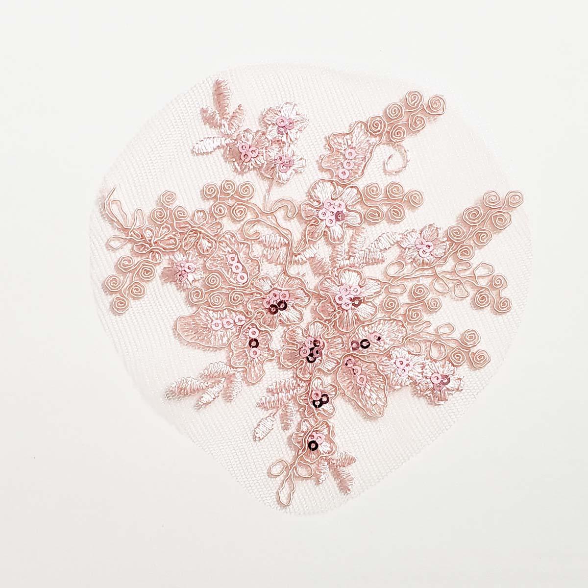 Ballet Pink Corded Sequin Applique