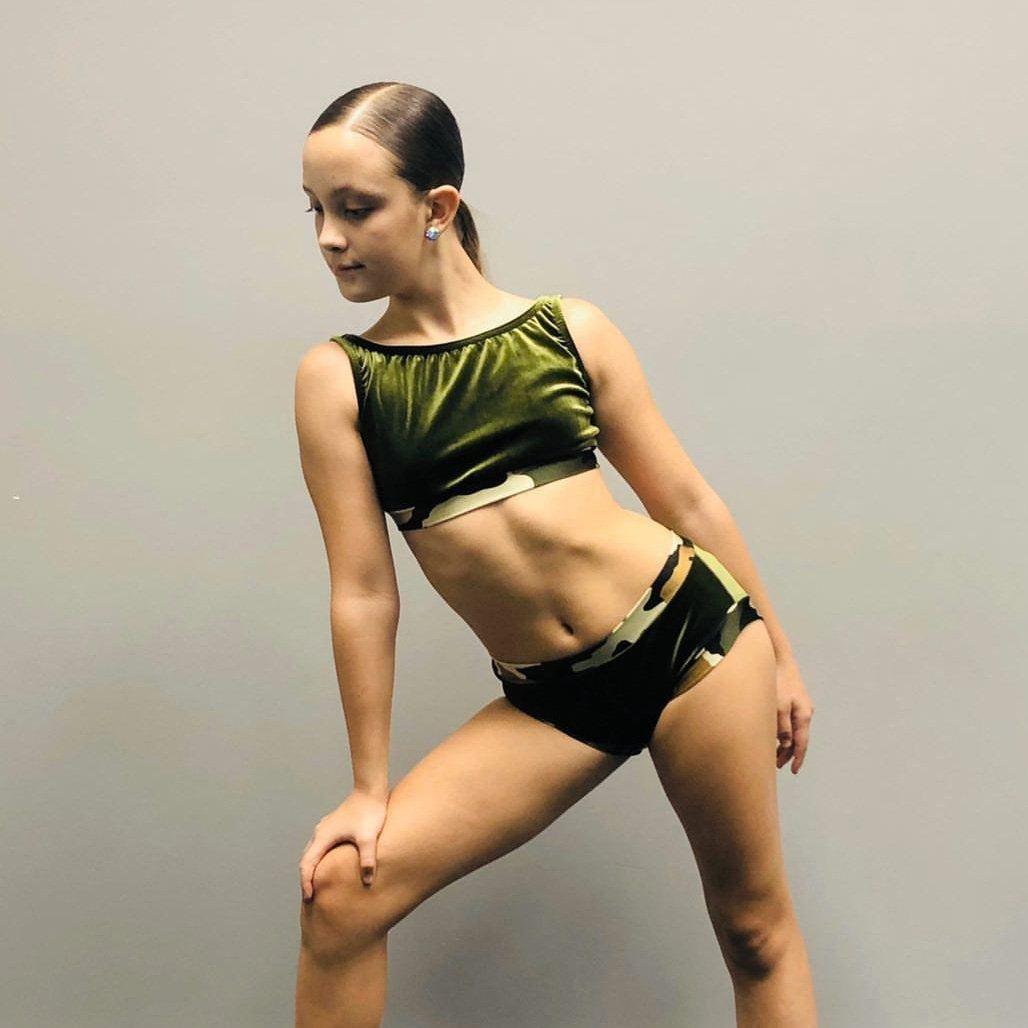 olive velvet dancewear set