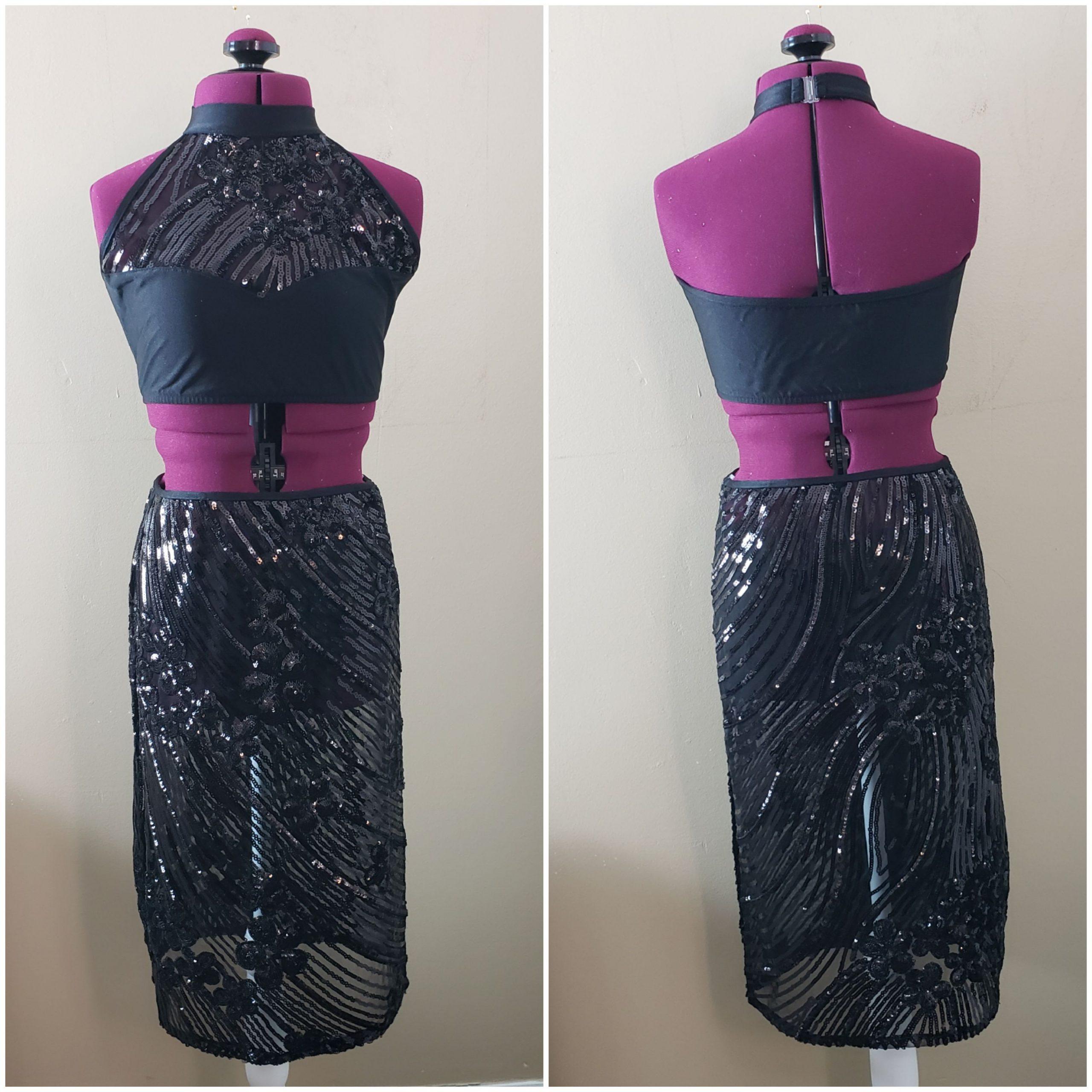 black sequin dance costume
