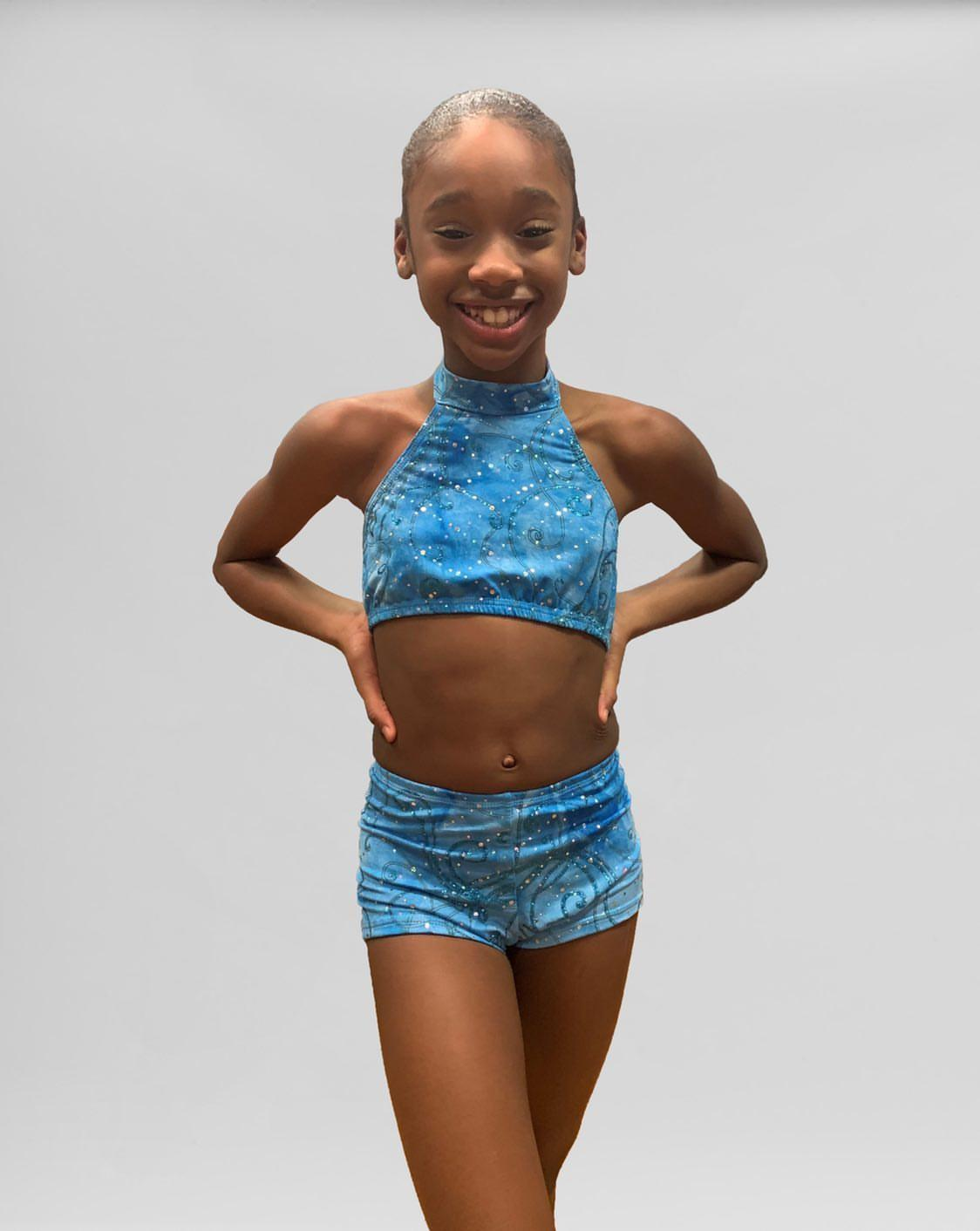blue sequin halter dancewear set1