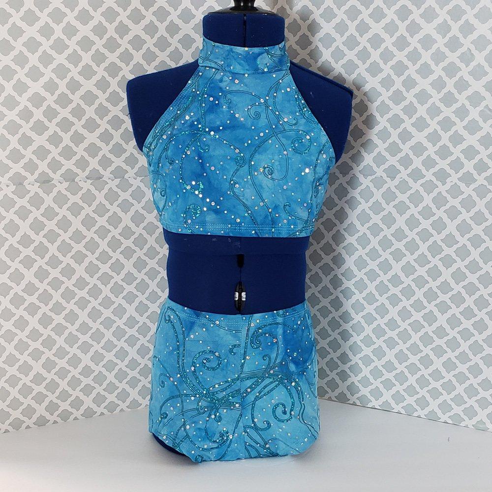 blue sequin halter dancewear set1