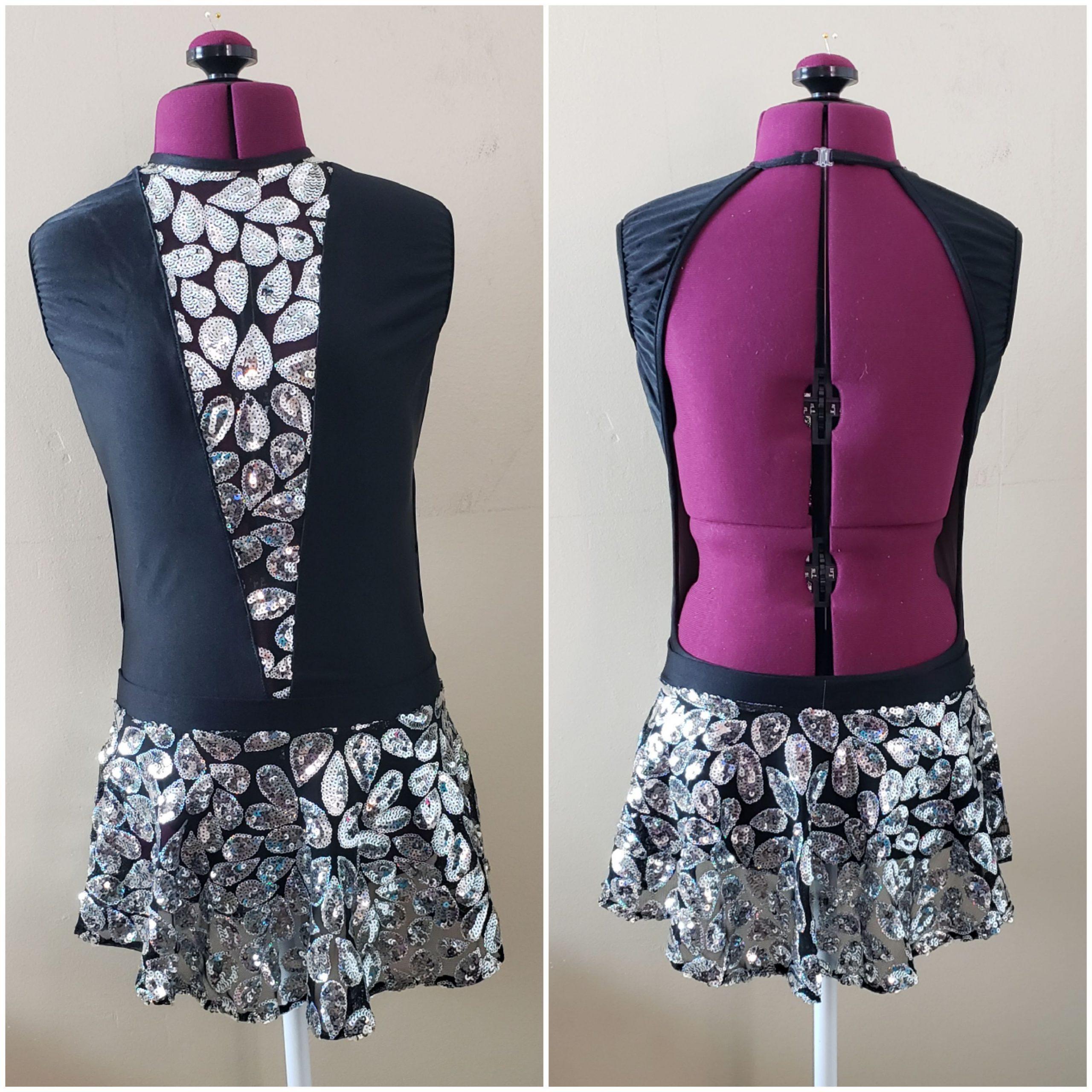 deep v leotard sequin skirt