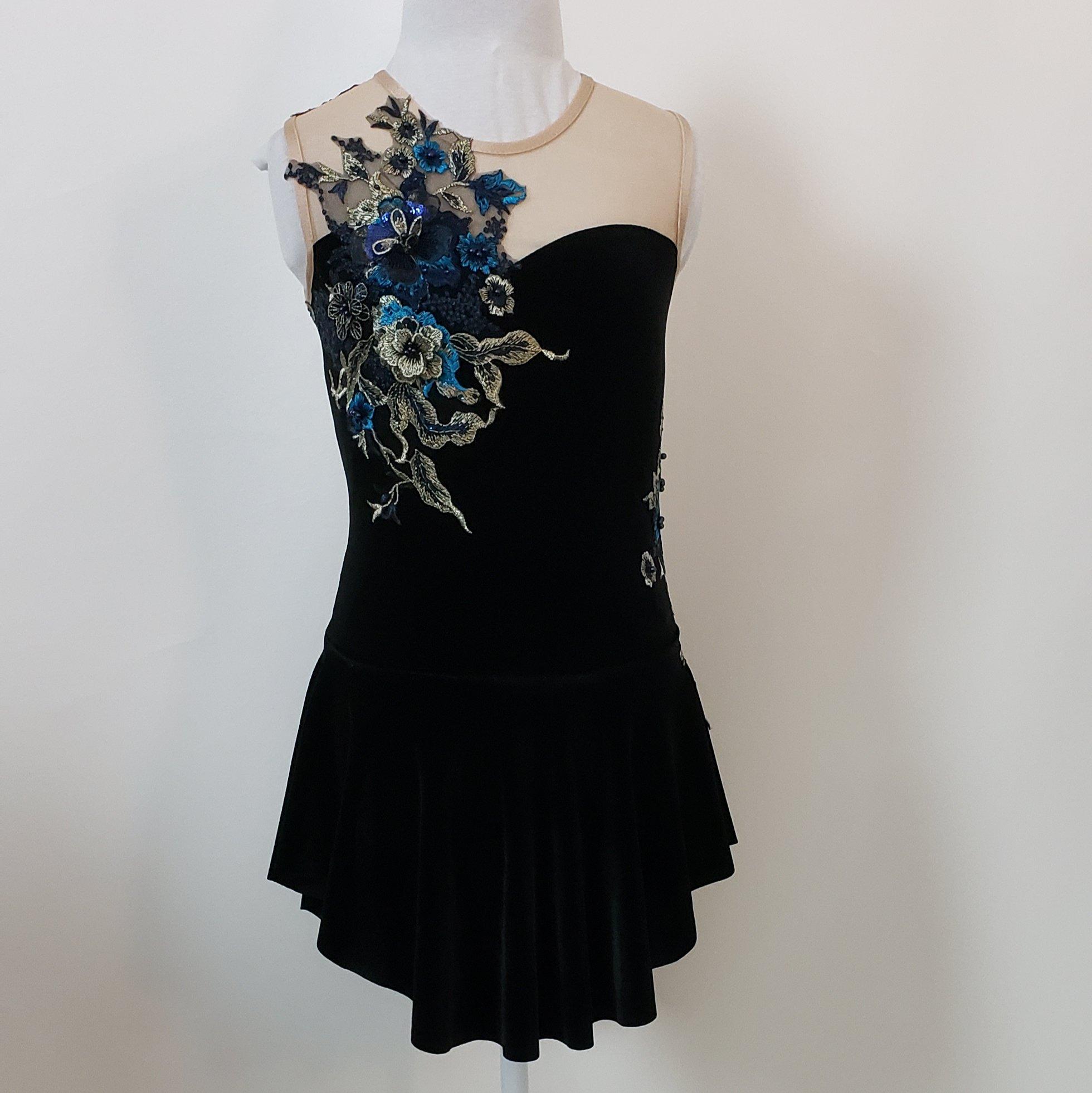 black velvet dance dress with flower appliques child large