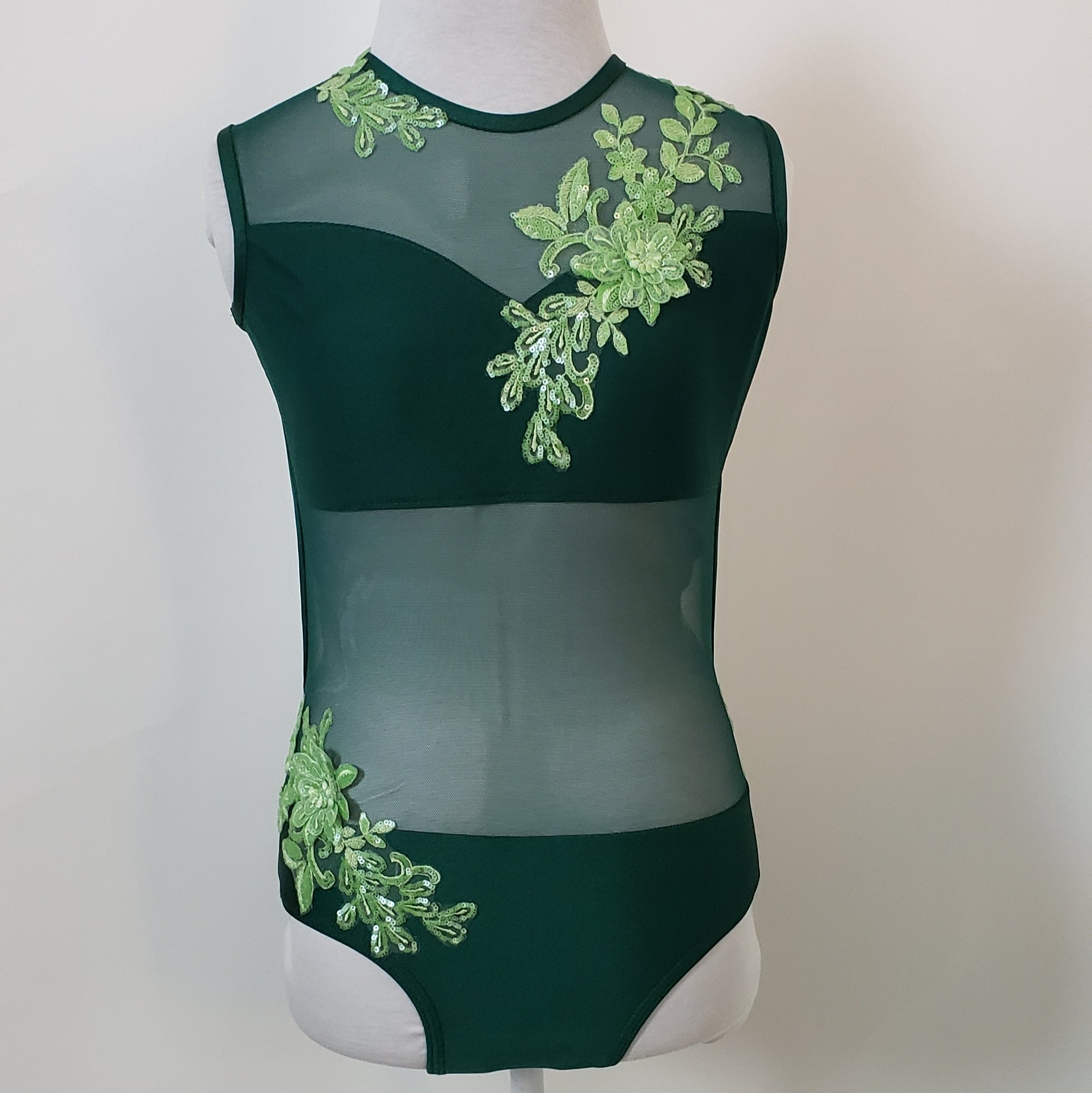 dark green leotard with sequin appliques child large2