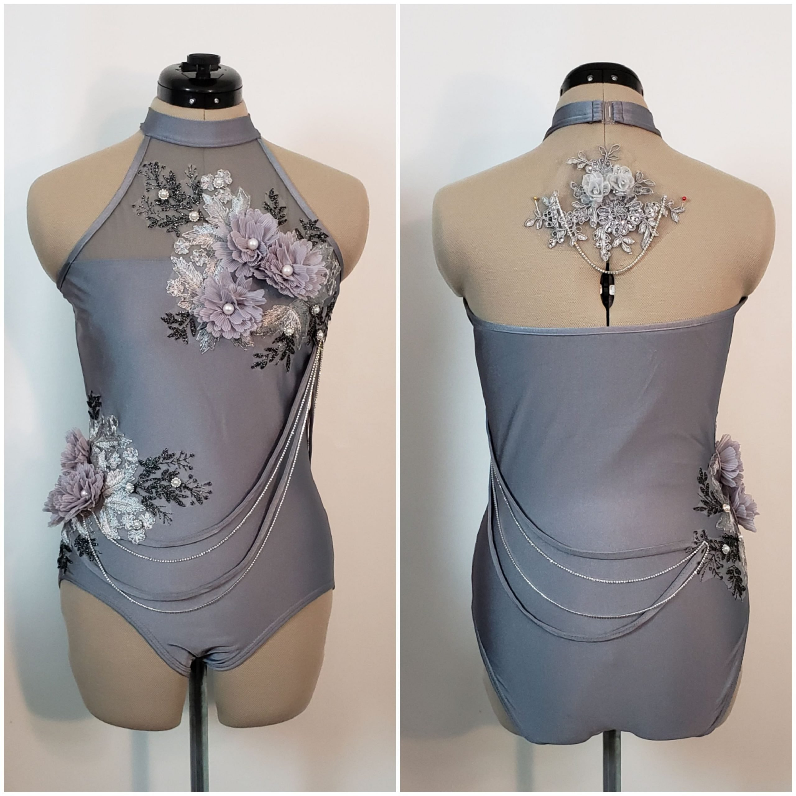 gray leotard 3D flowers adult small long girth